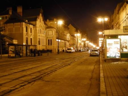 Bydgoszcz streets at night.