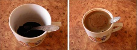 Polish Style Coffee, before and after.